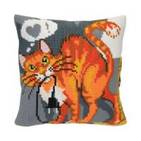 Kussen borduurpakket Sly Cat - Collection d'Art
