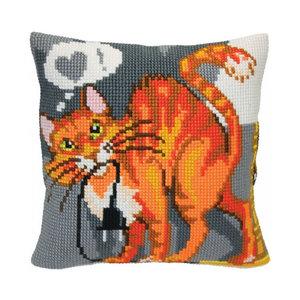 Collection d'Art Kussen borduurpakket Sly Cat - Collection d'Art