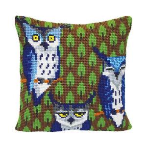 Collection d'Art Kussen borduurpakket Owls in the Forest - Collection d'Art