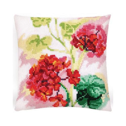 Collection d'Art Kussen borduurpakket Red Geranium  - Collection d'Art
