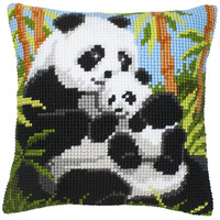 Kruissteekkussen kit Pandafamilie