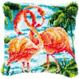 Vervaco Knoopkussen kit Flamingo's