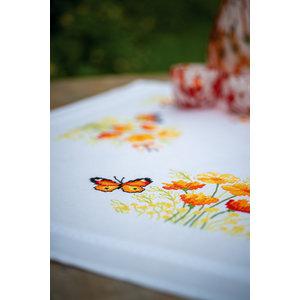 Vervaco Tafelkleed kit Oranje Bloemen en Vlinders