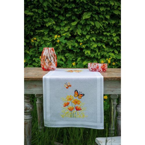Vervaco Loper kit Oranje Bloemen en Vlinders