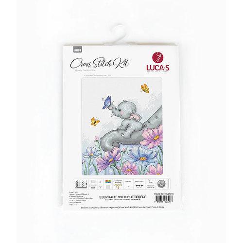 Luca-S Borduurpakket Elephant with Butterfly - Luca-S