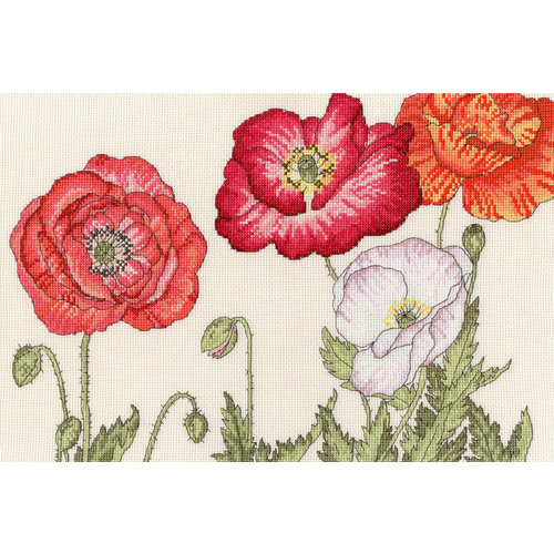 Bothy Threads Borduurpakket Bothy Designs - Poppy Blooms - Bothy Threads
