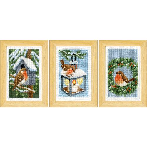 Vervaco Miniatuur kit Roodborstjes in de winter set van 3