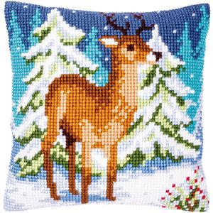 Vervaco Kruissteekkussen kit Hert in de winter