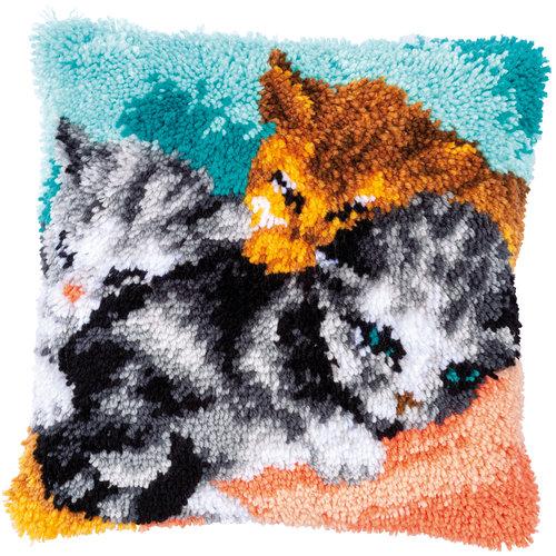 Vervaco Knoopkussen kit Snoezelige kittens