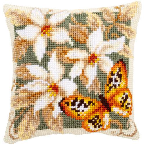 Vervaco Kruissteekkussen kit Witte bloemen en vlinder