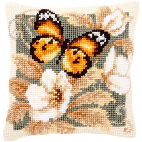 Vervaco Kruissteekkussen kit Oranje vlinder en witte bloemen