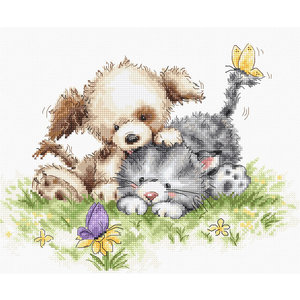 Luca-S Borduurpakket Dog and Cat with Butterfly - Luca-S