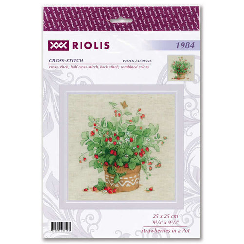 RIOLIS Borduurpakket Strawberries in a Pot - RIOLIS
