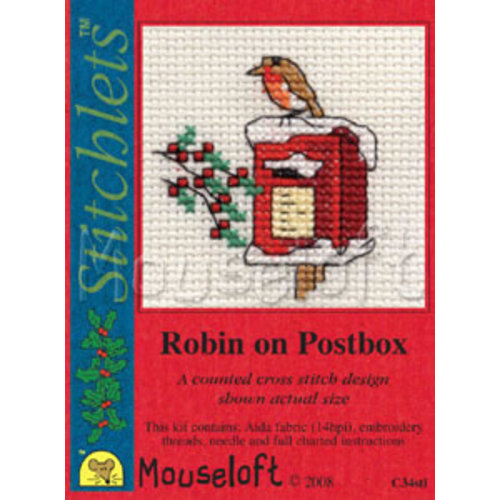 Mouseloft Borduurpakket Robin on Postbox - Mouseloft