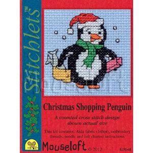 Mouseloft Borduurpakket Christmas Shopping Penguin - Mouseloft