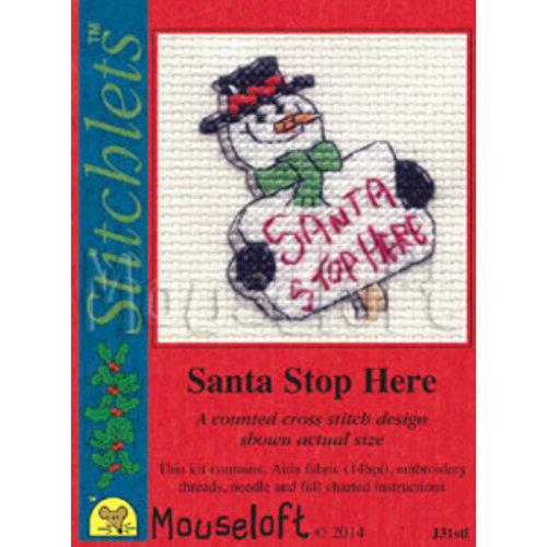 Mouseloft Borduurpakket Santa Stop Here - Mouseloft