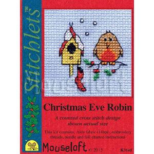 Mouseloft Borduurpakket Christmas Eve Robin - Mouseloft