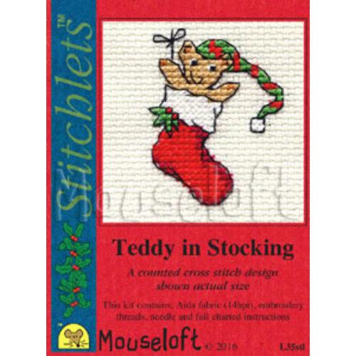 Mouseloft Borduurpakket Teddy in Stocking - Mouseloft