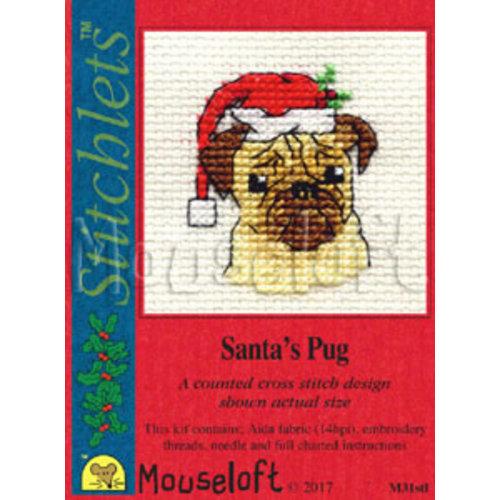 Mouseloft Borduurpakket Santa's Pug - Mouseloft