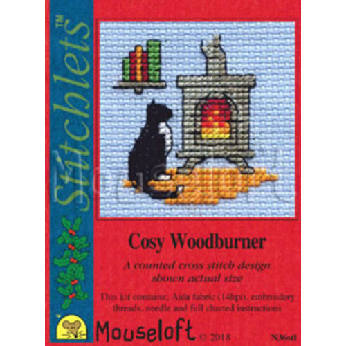 Mouseloft Borduurpakket Cosy Woodburner - Mouseloft