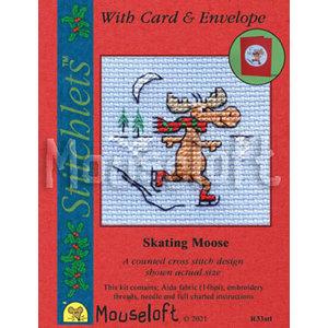 Mouseloft Borduurpakket Skating Moose - Mouseloft