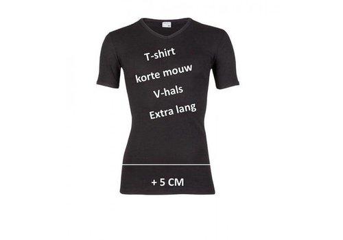 Beeren Ondergoed Beeren Heren T-shirt K.M. V-hals  Extra Lang Zwart