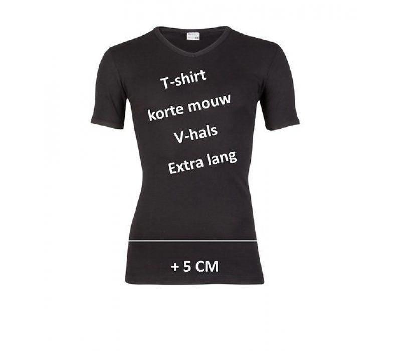 Beeren Heren T-shirt K.M. V-hals  Extra Lang Zwart