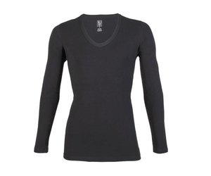 656f536d5fb RJ Bodywear RJ Bodywear Heren Diepe V-Hals Shirt Lange Mouw Zwart -  Onderbroekplein