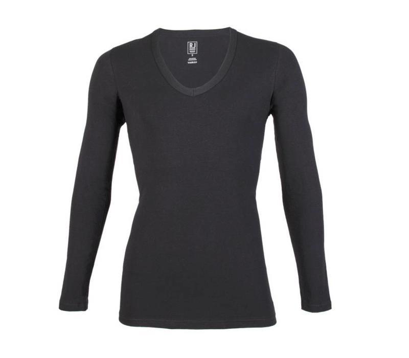 RJ Bodywear Heren Diepe V-Hals Shirt Lange Mouw Zwart