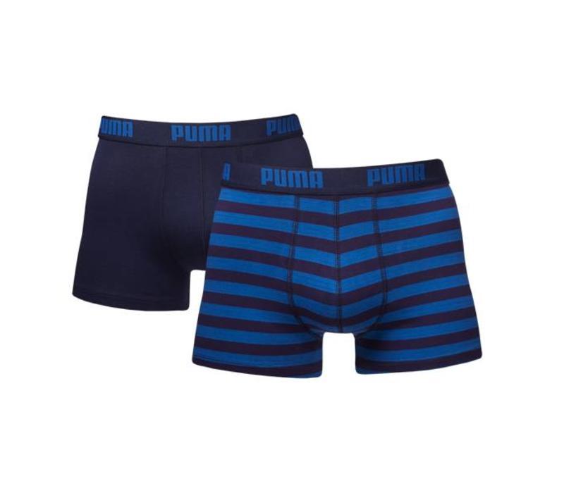 Puma Heren Boxer 2-pack Donker Blauwe Streepjes