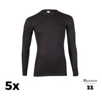 Heren Beeren ondergoed Thermo hemd L.M.  Zwart Bundel van 5