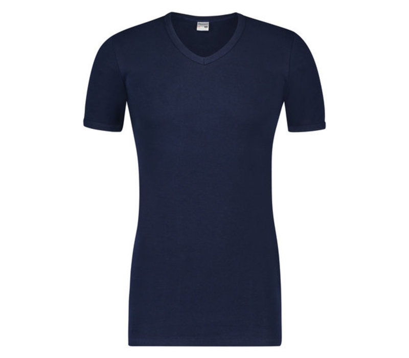 Beeren Heren T-shirt K.M. V-hals  Extra Lang Marine