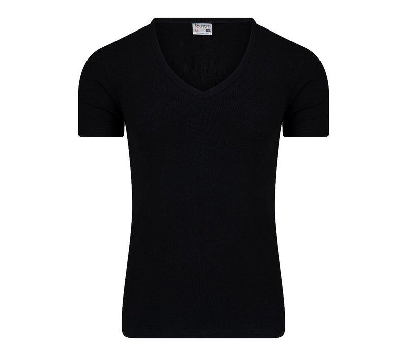 Heren T-shirt met Diepe V-hals M3000 Zwart