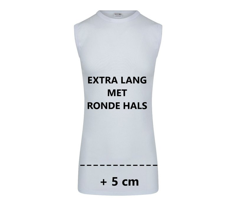 Heren Extra lang mouwloos shirt  M3000 wit