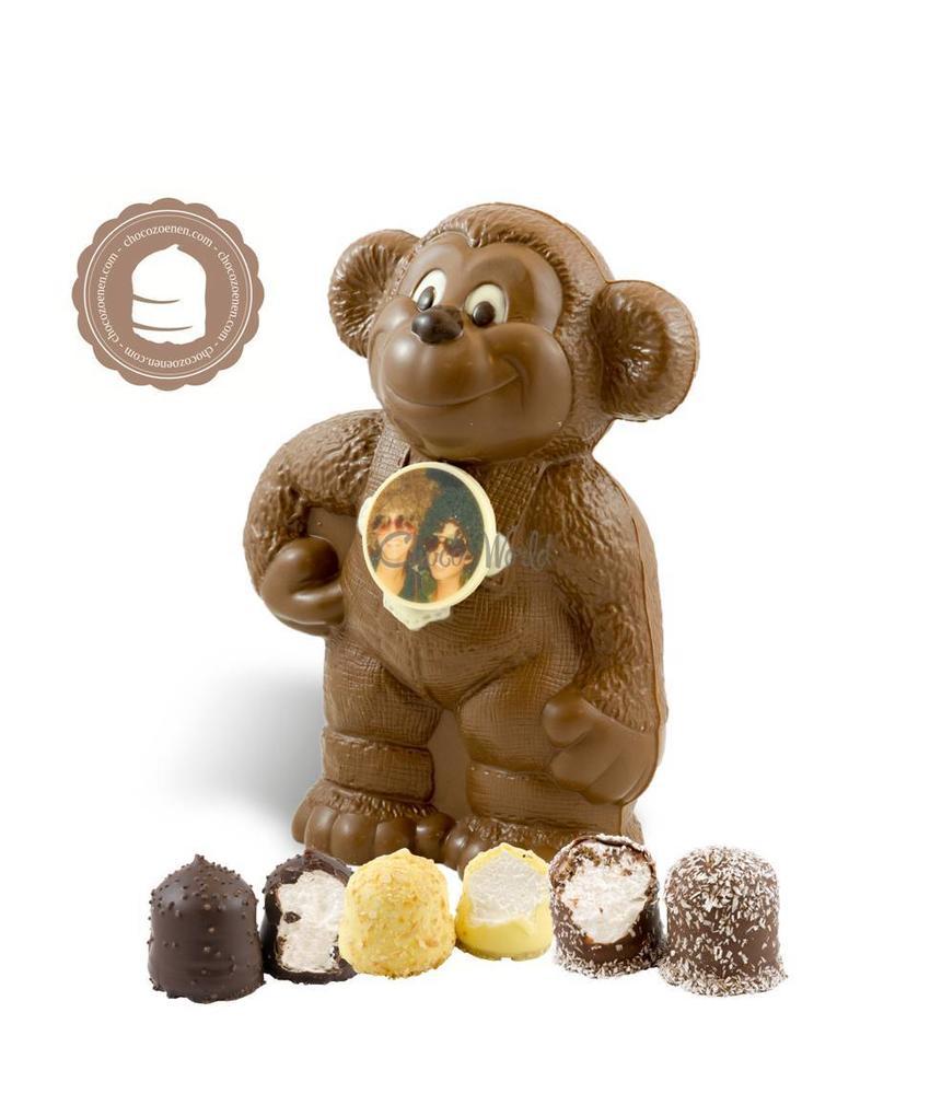 Chocolade Aap met Foto en  6 Zoenen