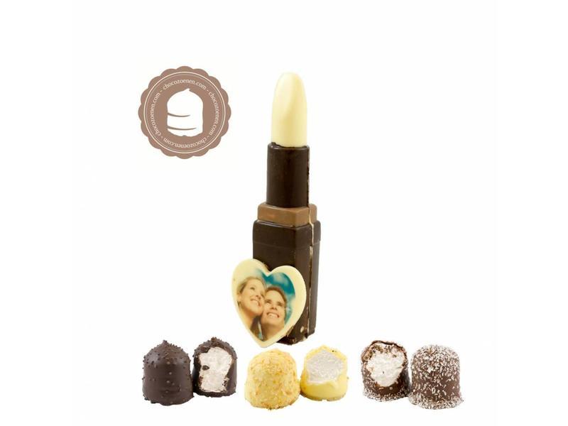 Chocolade Lipstick met Foto en  6 Zoenen
