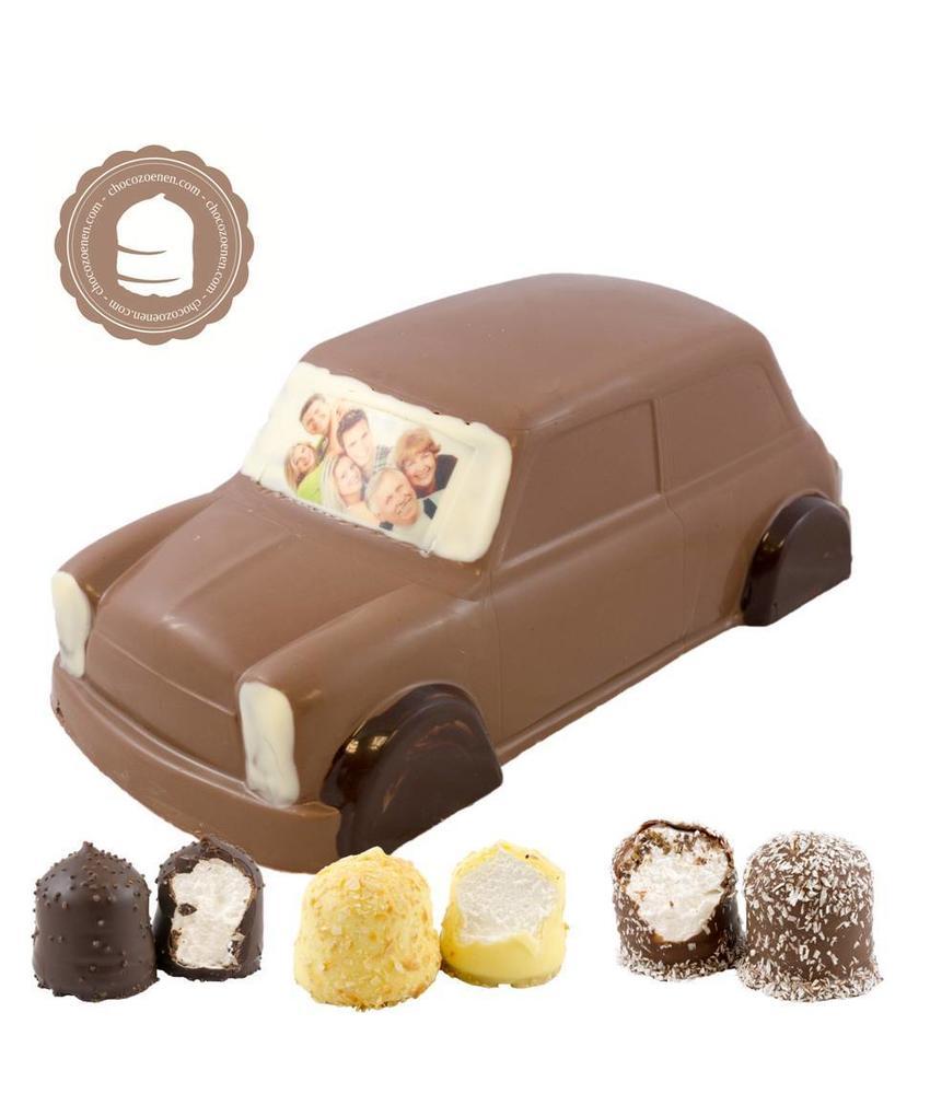 Chocolade Mini Cooper met Foto en  6 Zoenen