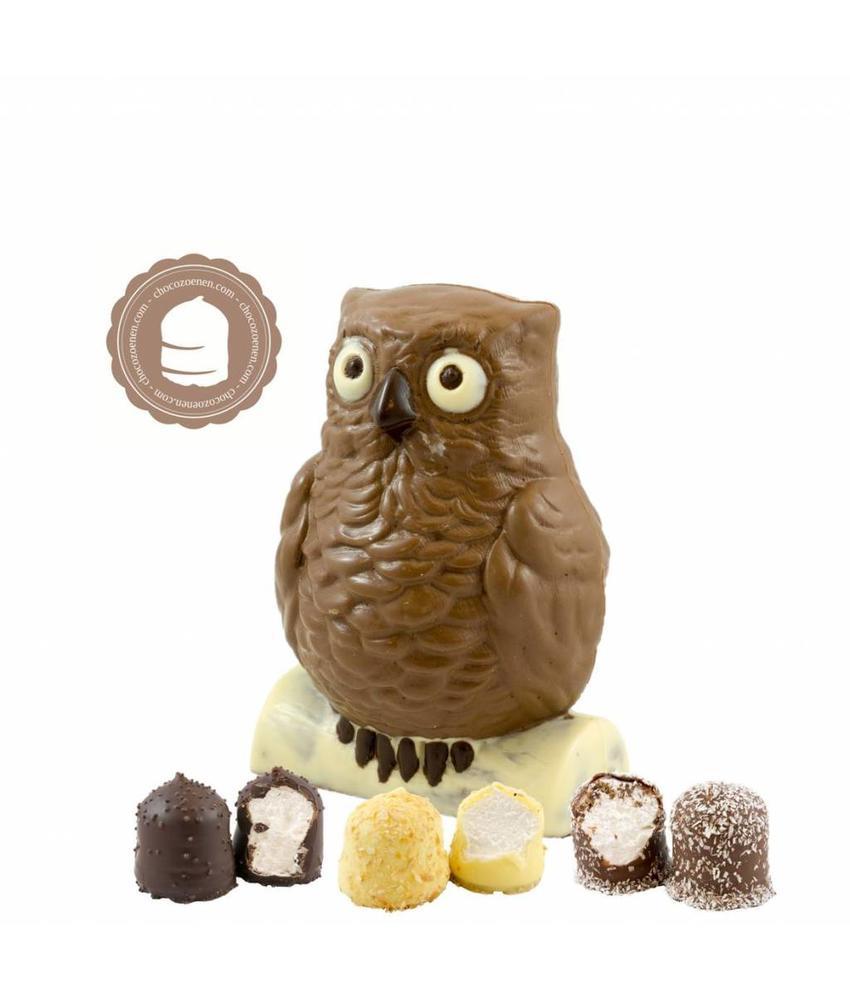Chocolade Uil met  6 Chocozoenen