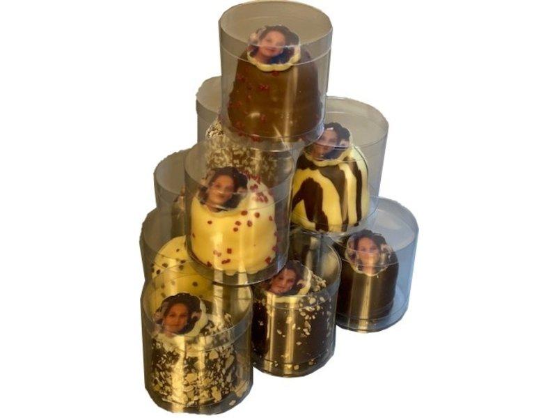 Chocozoenen per stuk verpakt met foto / logo