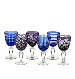 Pols Potten Wine Glasses Cobalt Mix Set of 6
