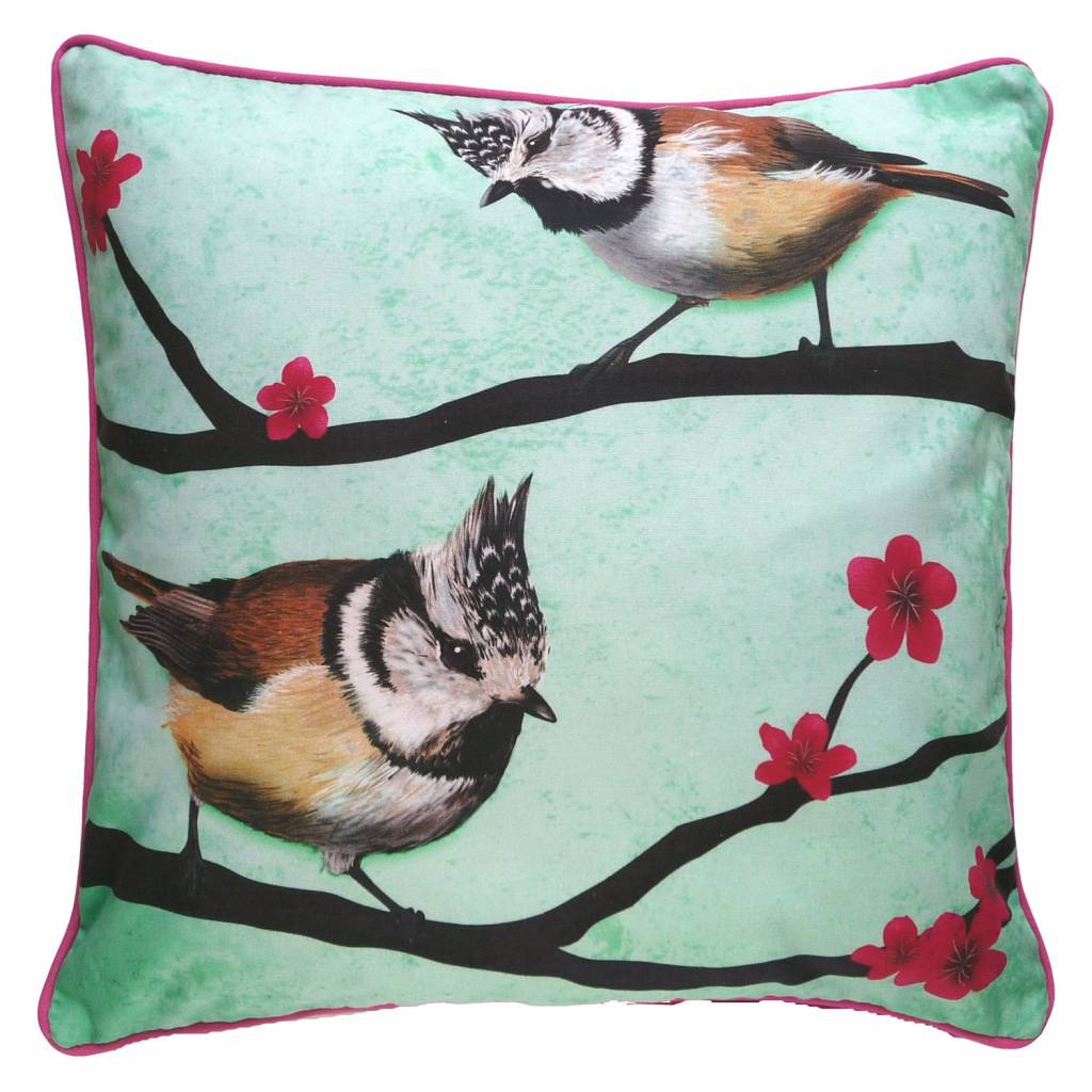 Cushion cover Crested tits