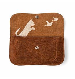 Keecie Wallet Cat Chase Cognac