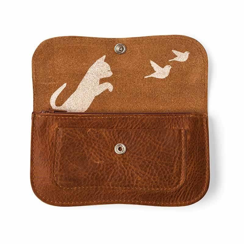 Wallet Cat Chase Cognac
