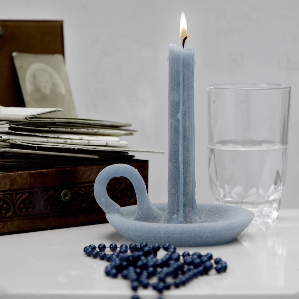 Candle and Candlestick Tallow Rainy Blue