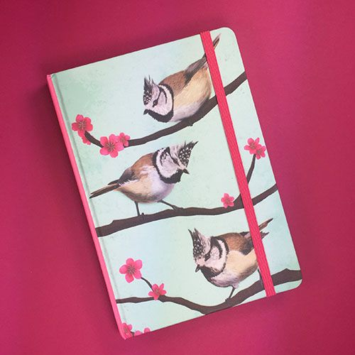 Notebook with Crested tits illustration