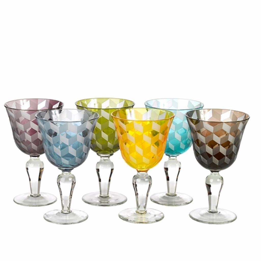 Wine Glasses Blocks Multicolour Set of 6