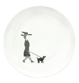 All Things We Like Breakfast plate Woman with Dog, Florentine
