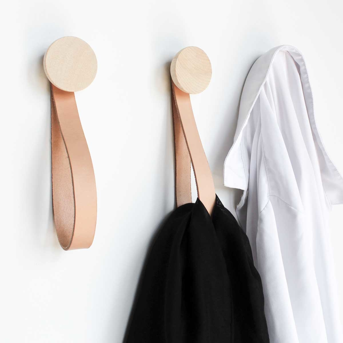 Round Beech Wood Wall Hook with Leather Loop set of 2
