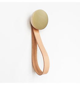 5mm Paper Brass wall hook with leather loop set / 2