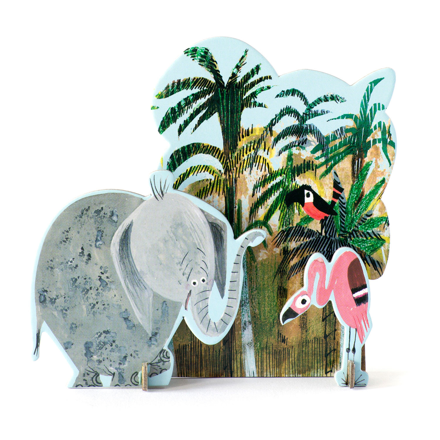 Pop-out kaart Jungle olifant